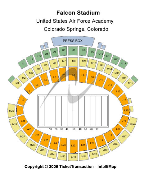 Falcon Stadium Seating Map