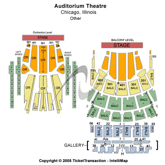Auditorium Theatre-IL Seating Map