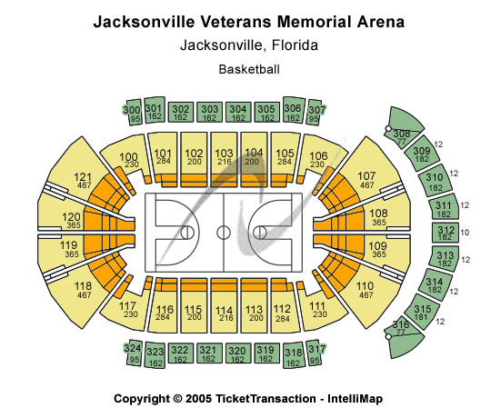 Jacksonville Veterans Memorial Arena Seating Map