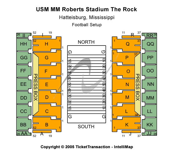 M. M. Roberts Stadium Seating Map
