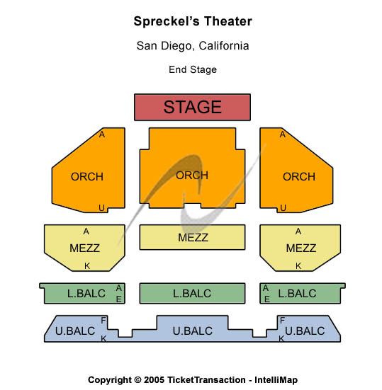 Spreckels Theatre Seating Chart