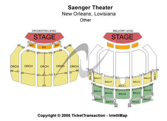 Saenger Theatre - LA Seating Map