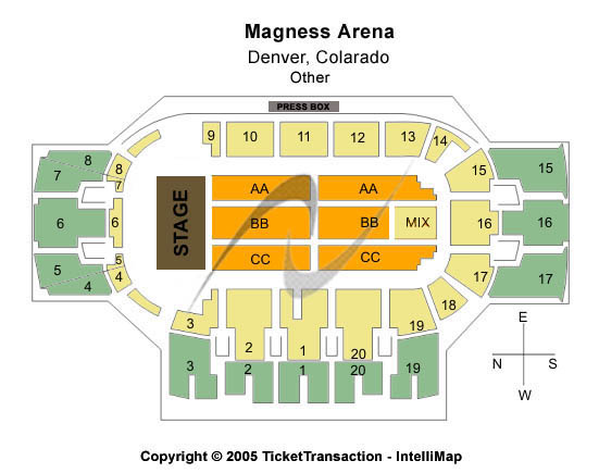 Magness Arena Seating Map