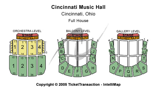 Cincinnati Music Hall Seating Chart