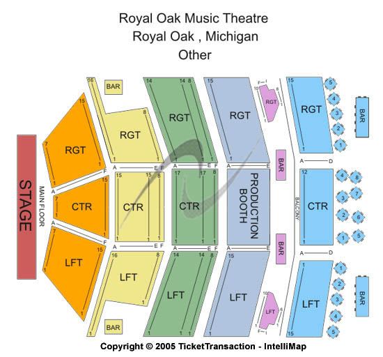 Royal Oak Music Theatre Seating Map