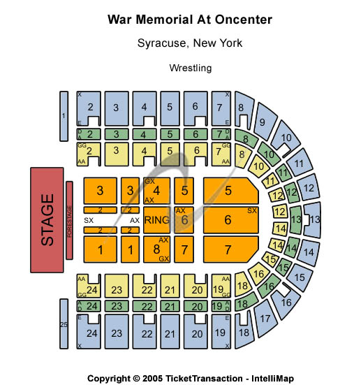 War Memorial At Oncenter Seating Map