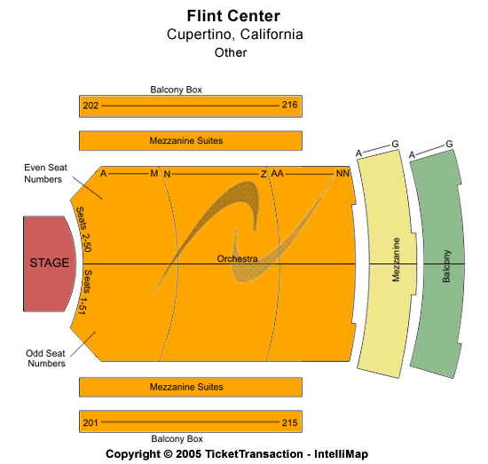 The Flint Center for the Performing Arts Seating Chart