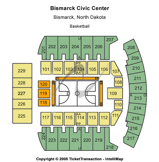 Bismarck Civic Center Seating Chart: Basketball