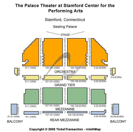 Stamford Center For The Arts - Palace Theatre Seating Map