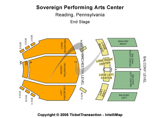 Sovereign Performing Arts Center Seating Map