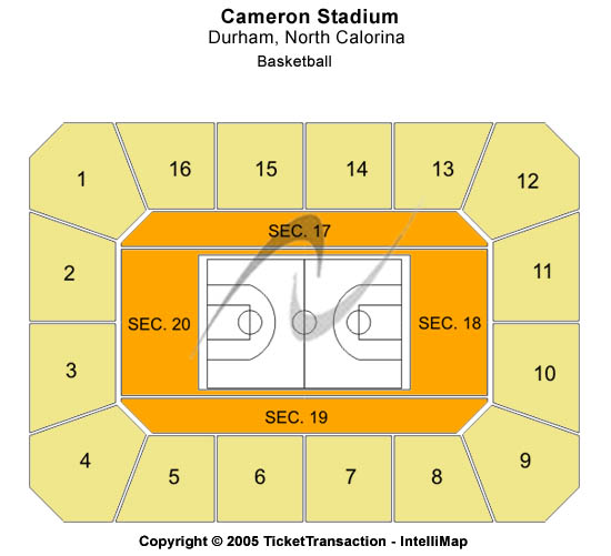 Cameron Indoor Stadium Seating Map