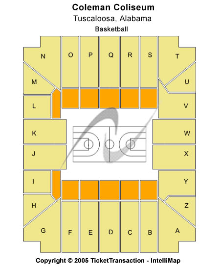 Coleman Coliseum Seating Map
