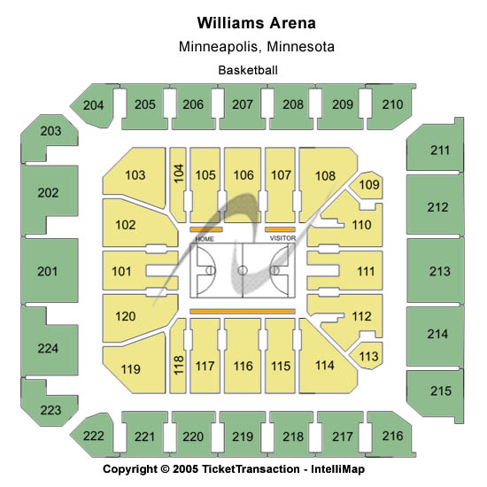 Williams Arena and Sports Pavilion Seating Chart
