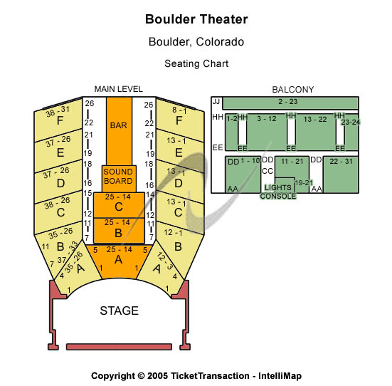 Boulder Theater Seating Map