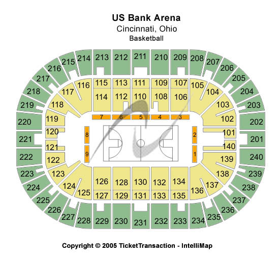 US Bank Arena Seating Chart: Basketball