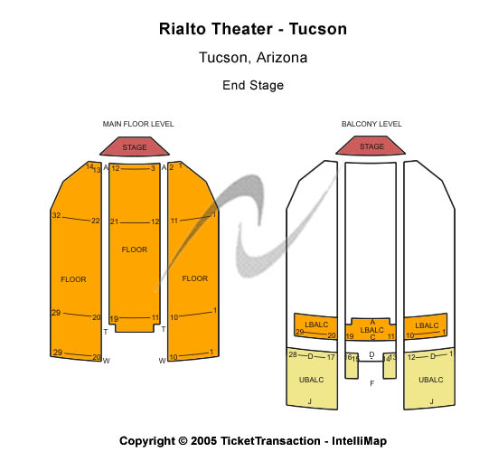 Rialto Theatre-Tucson Seating Map