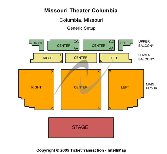 Missouri Theater - Columbia Seating Map