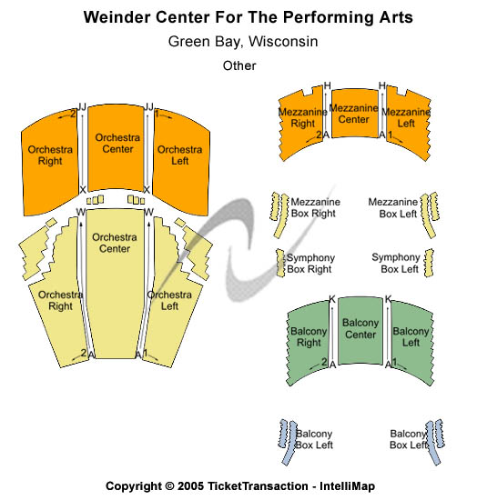 Weidner Center For The Performing Arts Seating Map