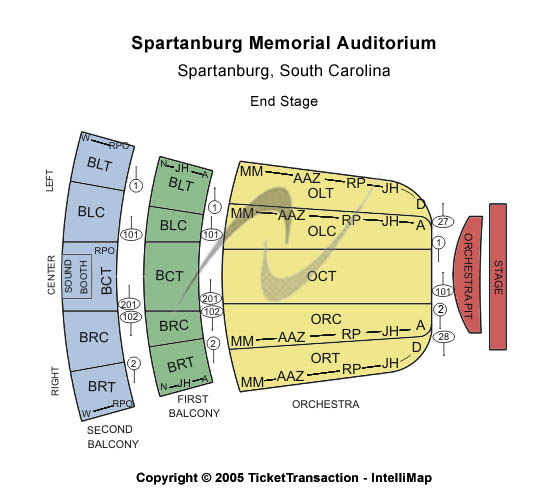 Spartanburg Memorial Auditorium Seating Map