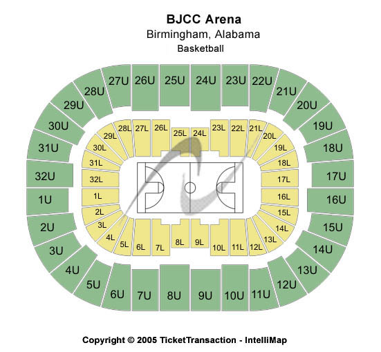 BJCC Arena Seating Chart: Basketball