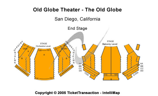 Old Globe Theatre - The Old Globe Seating Map