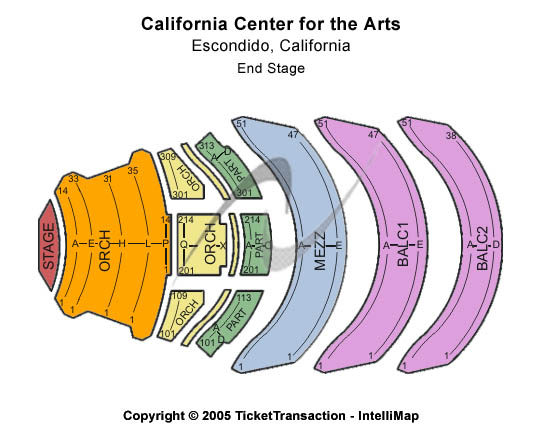 California Center For The Arts Escondido Seating Chart