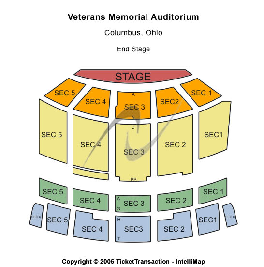 Veterans Memorial Auditorium-OH Seating Map