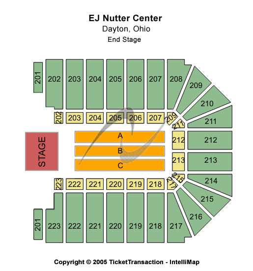 Ej Nutter Center Seating Map