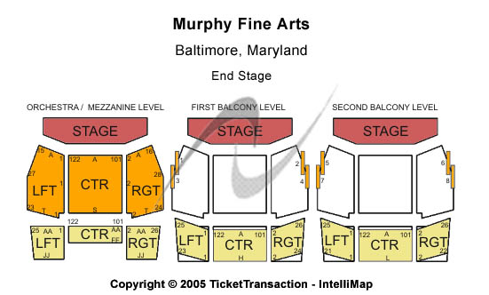 Murphy Fine Arts Center Seating Map