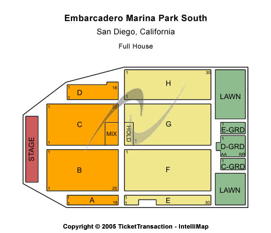 Embarcadero Park South Seating Map