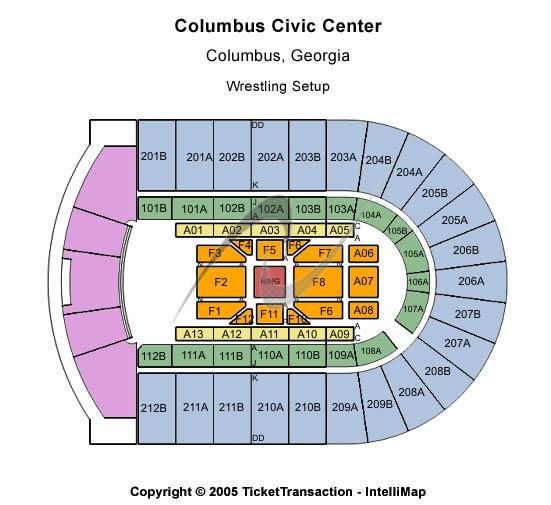 Columbus Civic Center Wrestling Setup