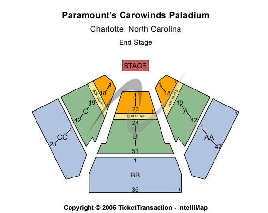 Paramounts Carowinds Paladium Seating Map
