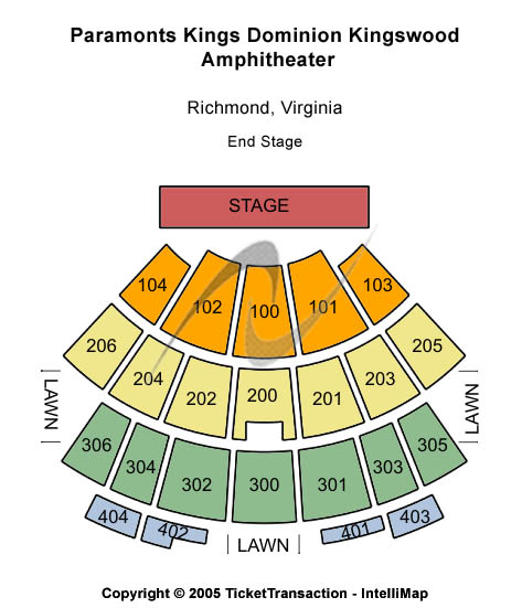 Paramounts Kings Dominion Kingswood Amphitheatre Seating Map