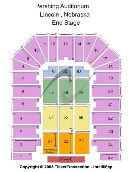 Pershing Center Seating Map