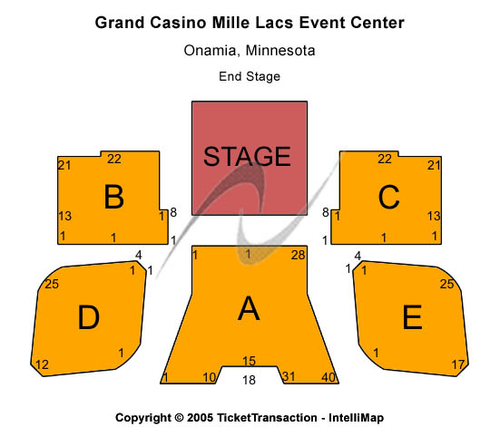 Grand Casino Mille Lacs Event Center Seating Map