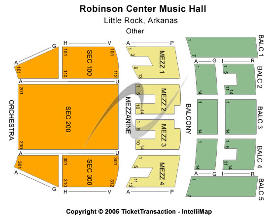 Robinson Center Music Hall Seating Map