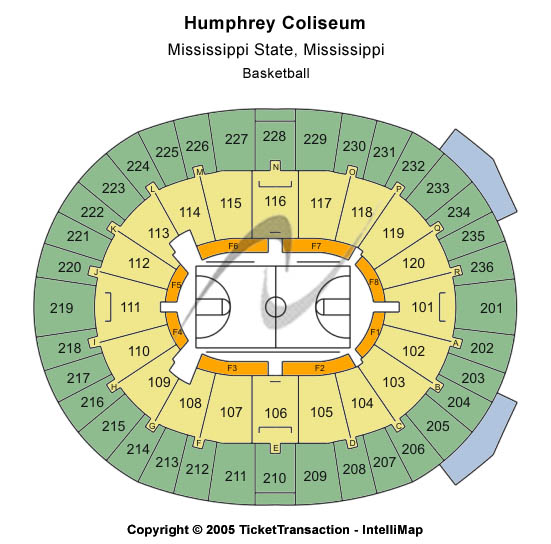 Humphrey Coliseum Seating Map