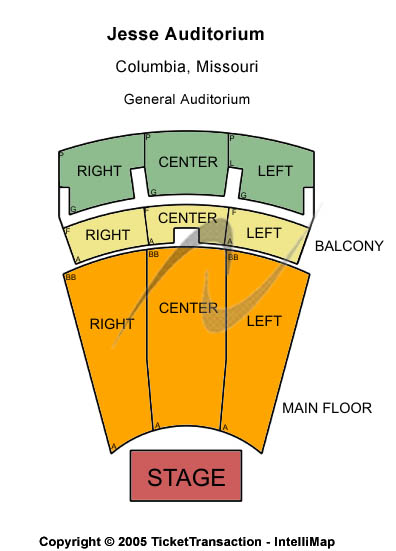 Jesse Auditorium Seating Map