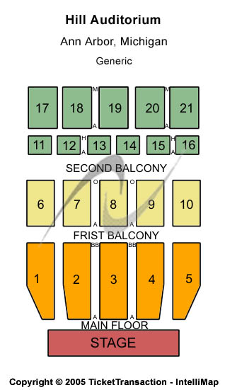 Hill Auditorium Seating Map