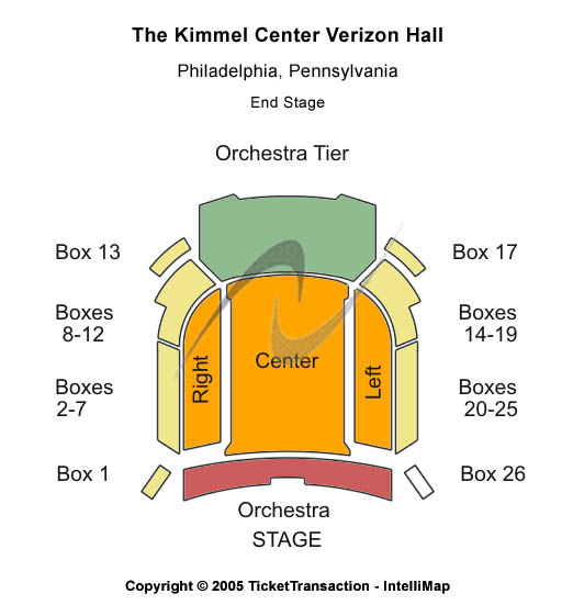 The Kimmel Center - Verizon Hall Seating Map