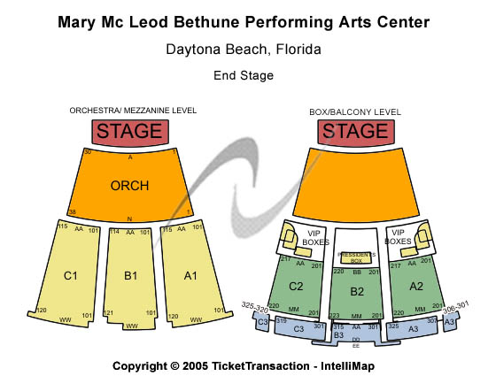 Mary Mcleod Bethune Performing Arts Center Seating Chart