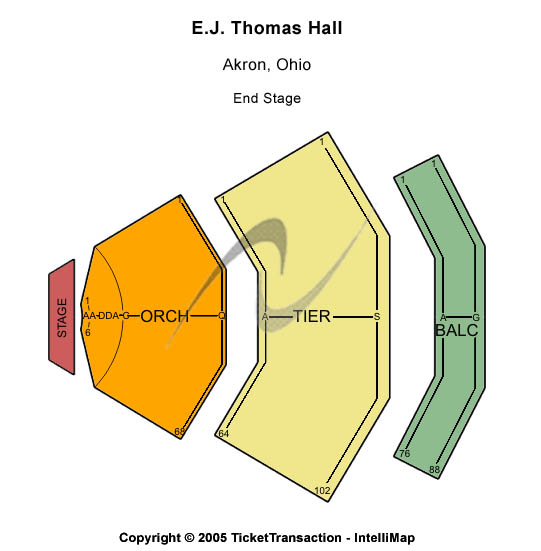 E. J. Thomas Hall Seating Chart