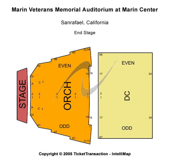 Marin Veterans Memorial Auditorium Seating Map