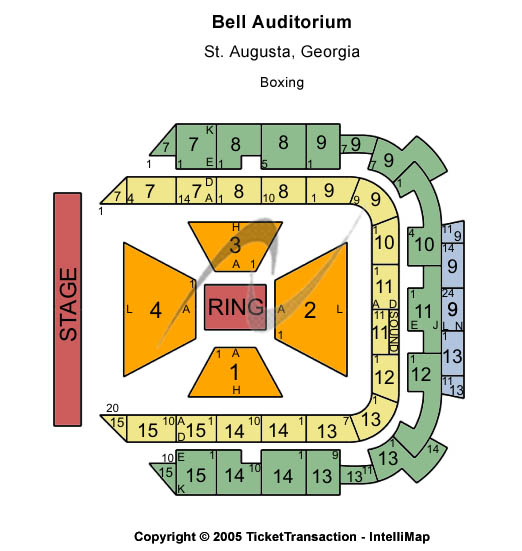 Bell Auditorium Seating Map