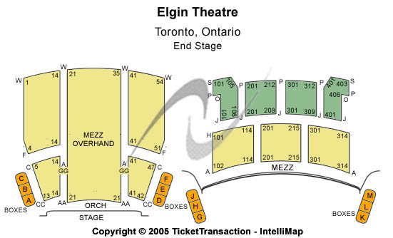 Elgin Theatre Seating Chart