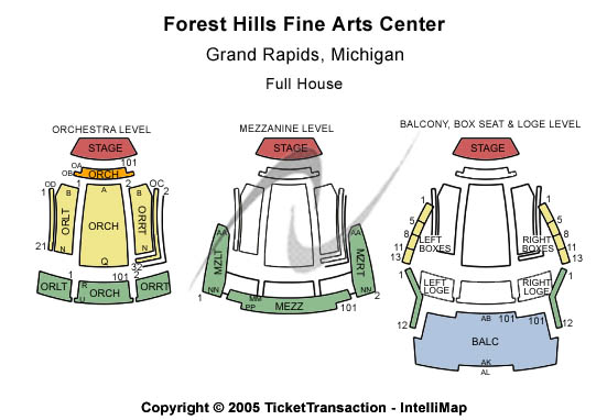 Forest Hills Fine Arts Center Seating Chart
