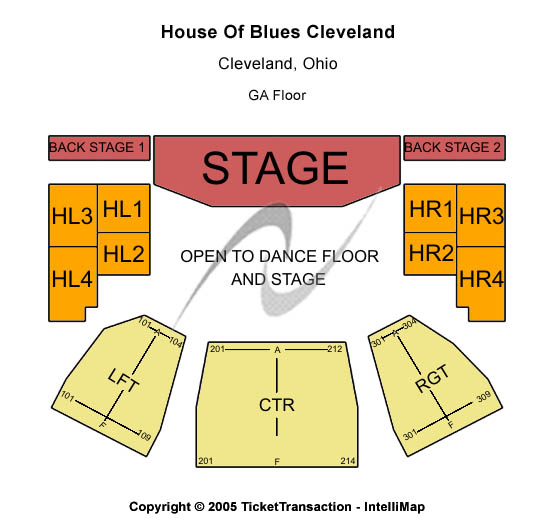 House Of Blues - Cleveland Seating Map
