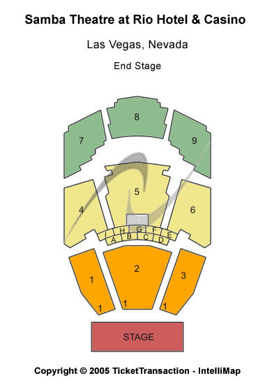 Penn & Teller Theater - Rio Hotel Seating Map