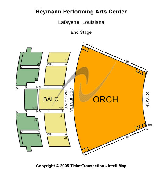Heymann Performing Arts Center Seating Map