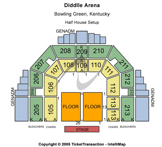 Diddle Arena Seating Map
